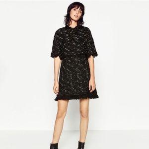 Zara Fringe Tweed Dress